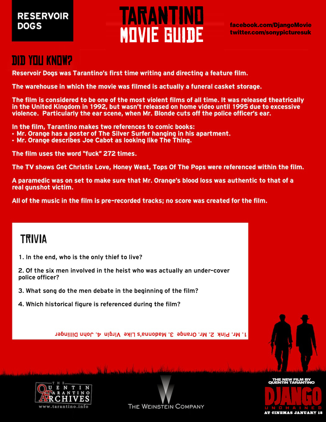 Tarantino Movie Guide - Reservoir Dogs