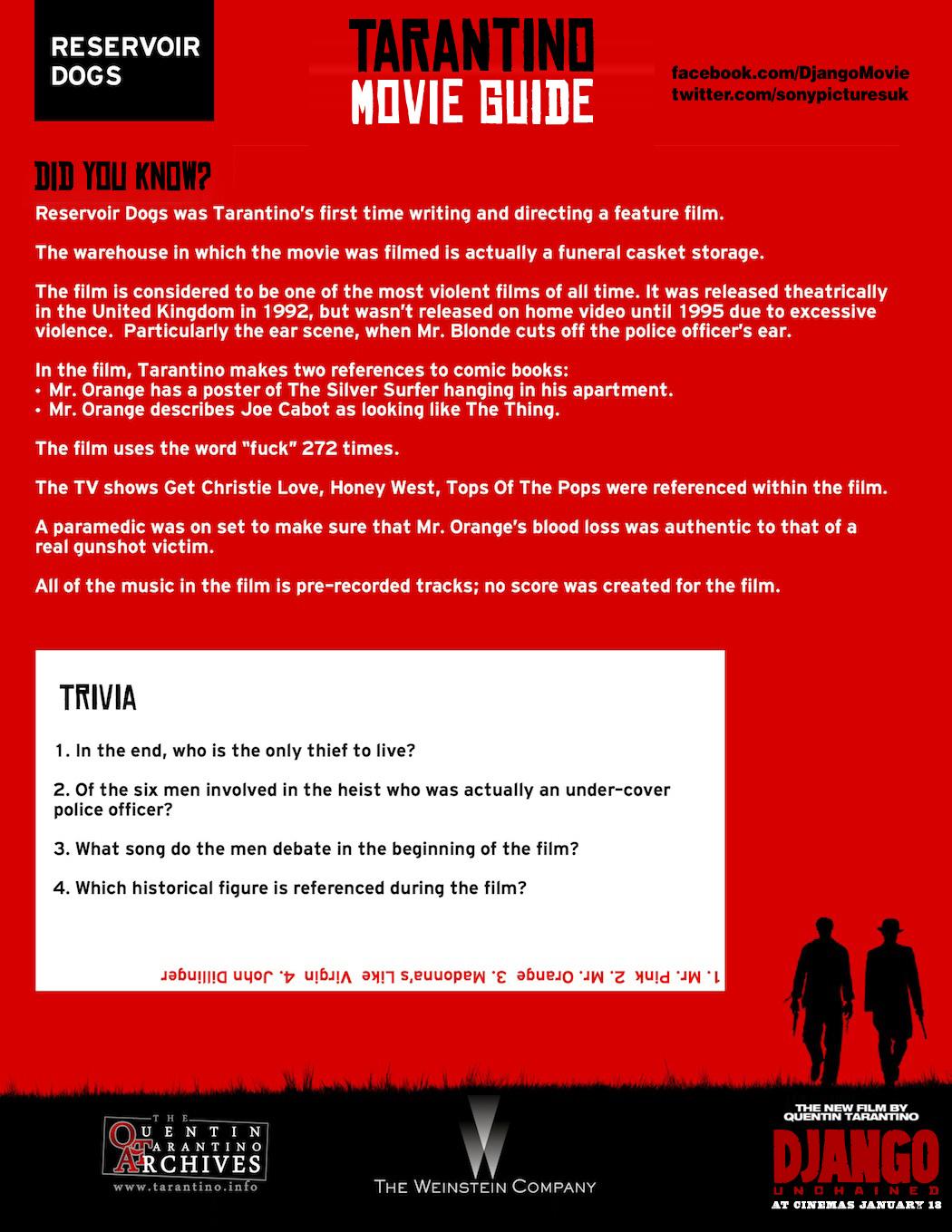 Tarantino Movie Guide – Reservoir Dogs