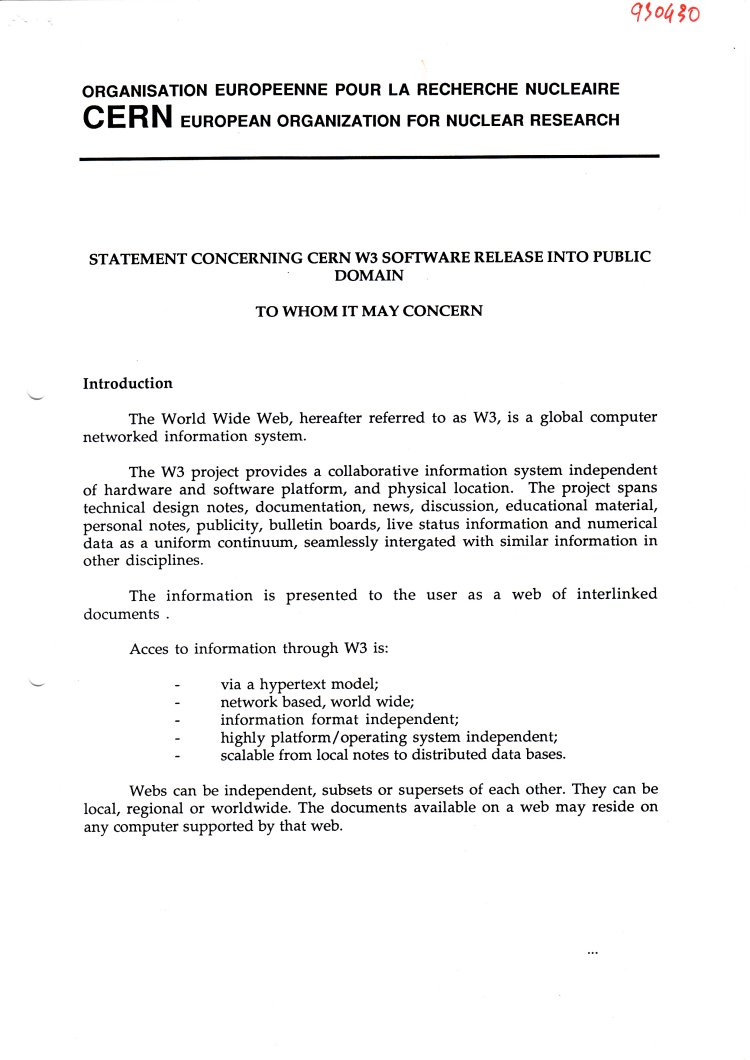 The document that officially put the World Wide Web into the public domain on 30 April 1993 - Page 1