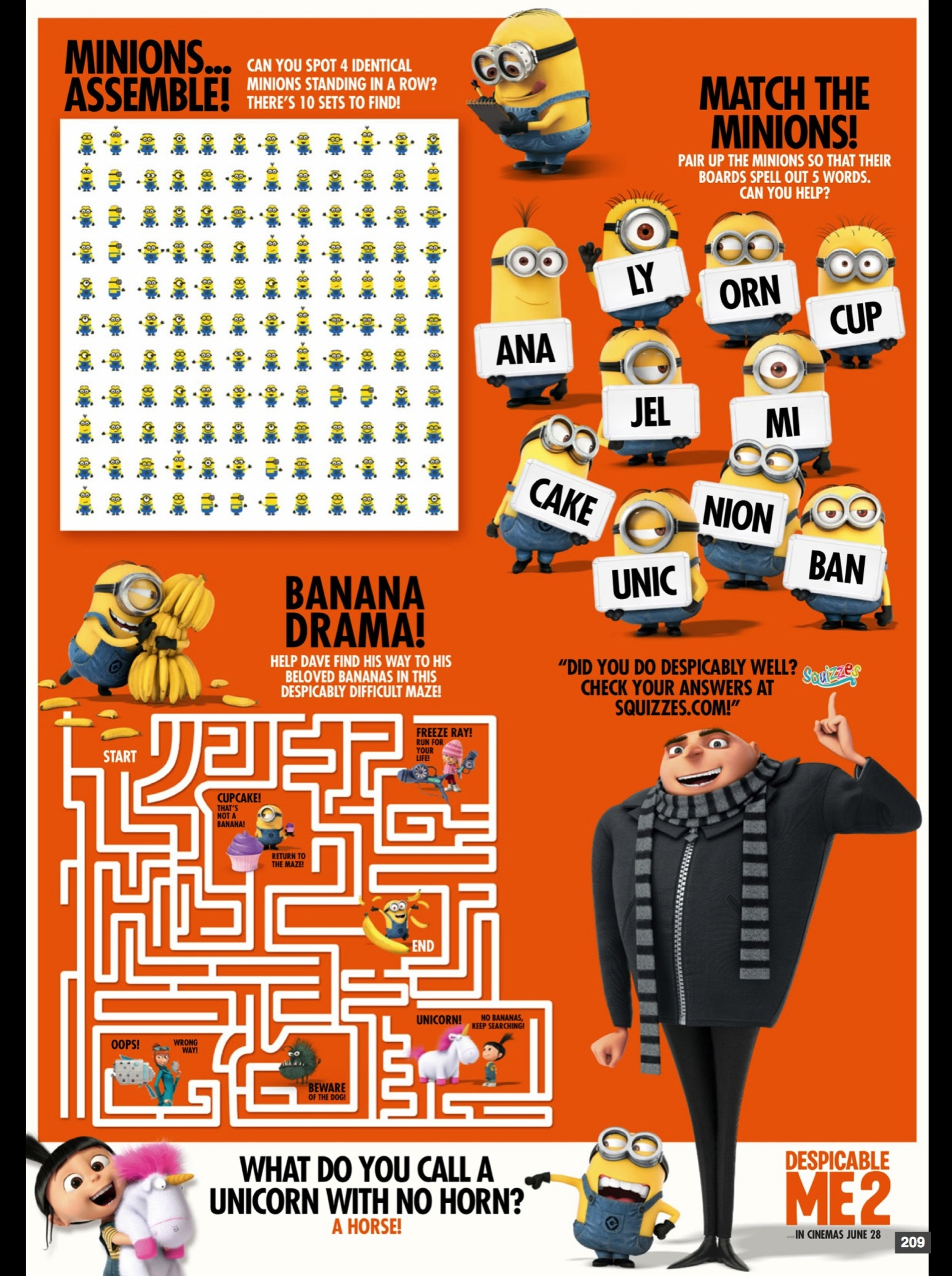 Despicable Me 2 activity sheet