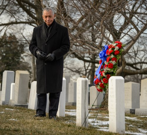 NASA Administrator Charles Bolden participates in a wreath laying ceremony as part of NASA's Day of Remembrance, Friday, Jan. 31, 2014, at Arlington National Cemetery. The wreaths were laid in memory of those men and women who lost their lives in the quest for space exploration.