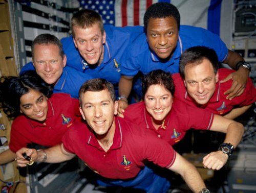 The crew of STS-107 in orbit