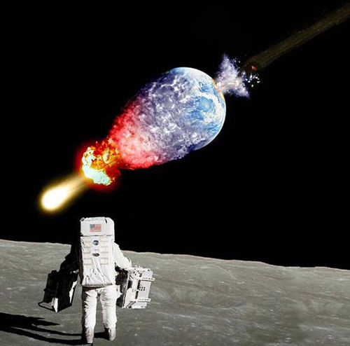 An asteroid destroying the Earth
