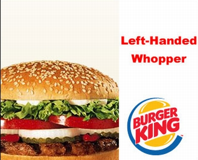 The left handed whopper ad for April fools day