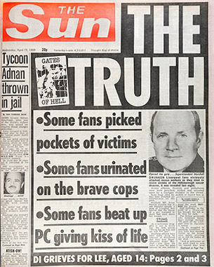 Hillsborough disaster The Sun headline