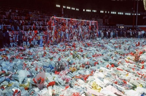 The Kop and penalty area at Anfield covered in floral tributes after the 1989 Hillsborough disaster
