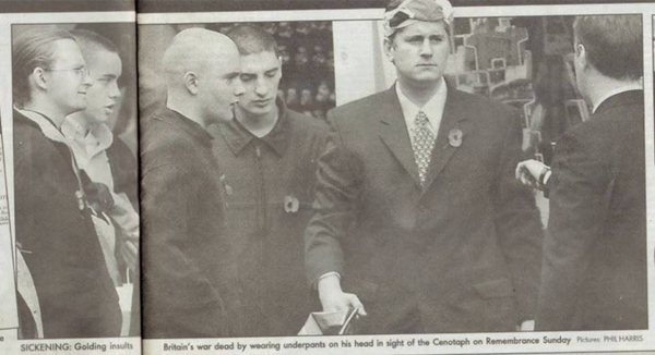 Paul Golding with underpants on his head