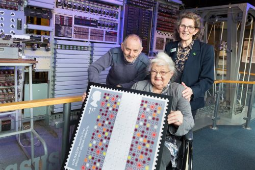 Chief Colossus Rebuild Engineer Phil Hayes; TNMOC Trustee Margaret Sale, and (seated) Joanna Chorley.  Photo courtesy Royal Mail