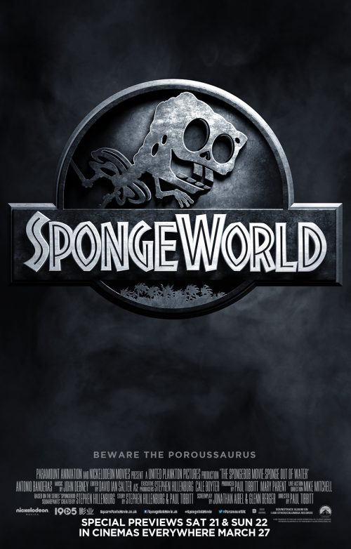Jurassic World Spongebob spoof poster