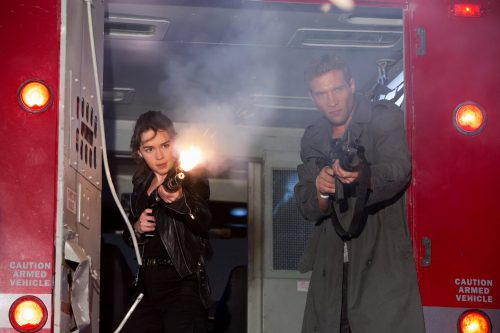 Emilia Clarke is Sarah Connor and Jai Courtney is Kyle Reese in TERMINATOR GENISYS