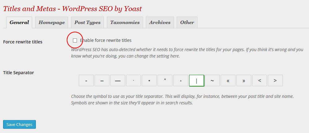 yoast force rewrite titles off