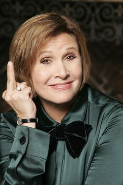 Carrie Fisher flipping the bird