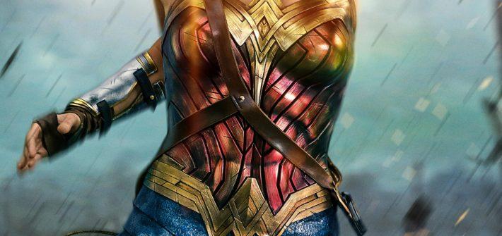 Wonder Woman deflecting bullets