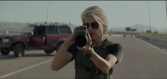 Sarah Connor & a rocket launcher
