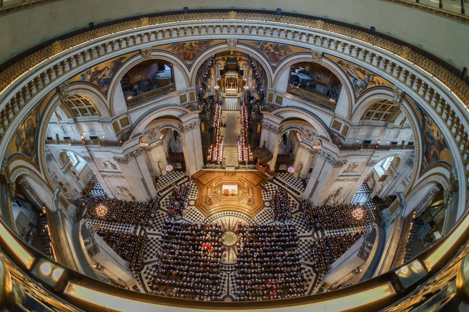 A service as seen from the whispering Gallery