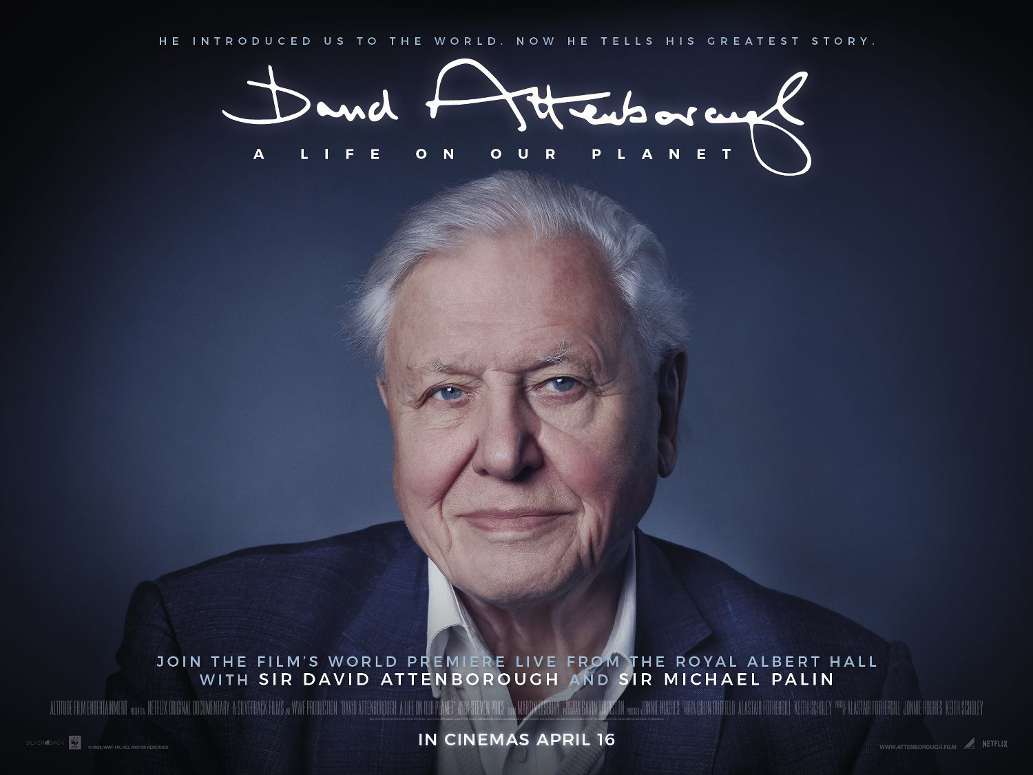Film artwork for David Attenborough – A Life On Our Planet. World premiere on 16 April 2020
