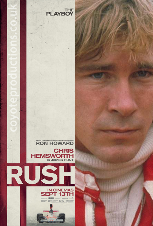 Rush character poster using the real James Hunt