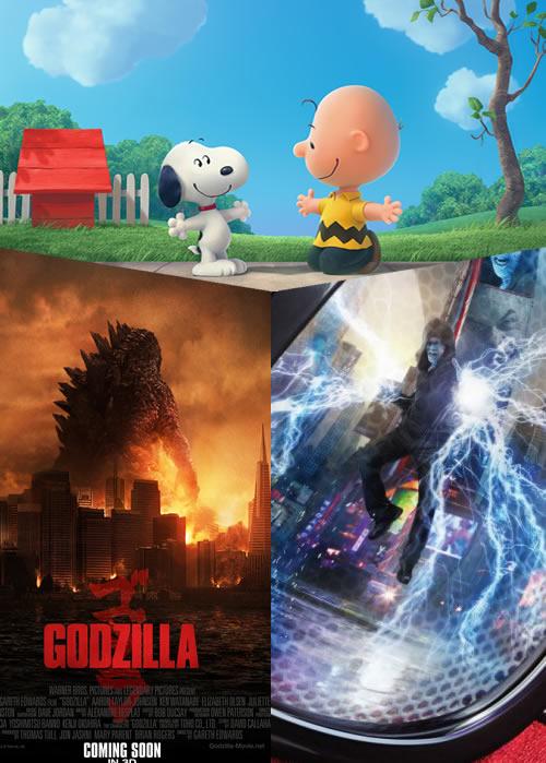 Peanuts, Godzilla and Spider-man