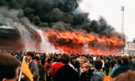 Bradford football club - stand fully ablaze