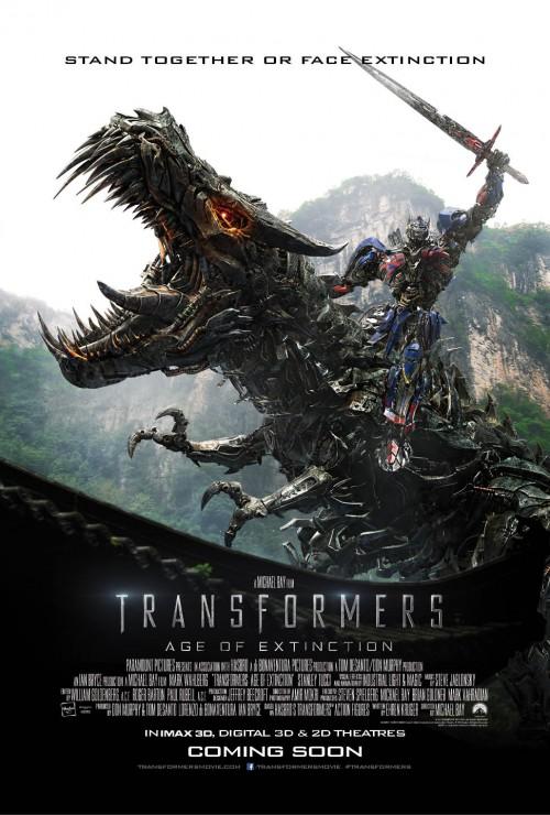 Optimus Prime riding the dragon Grimlock poster