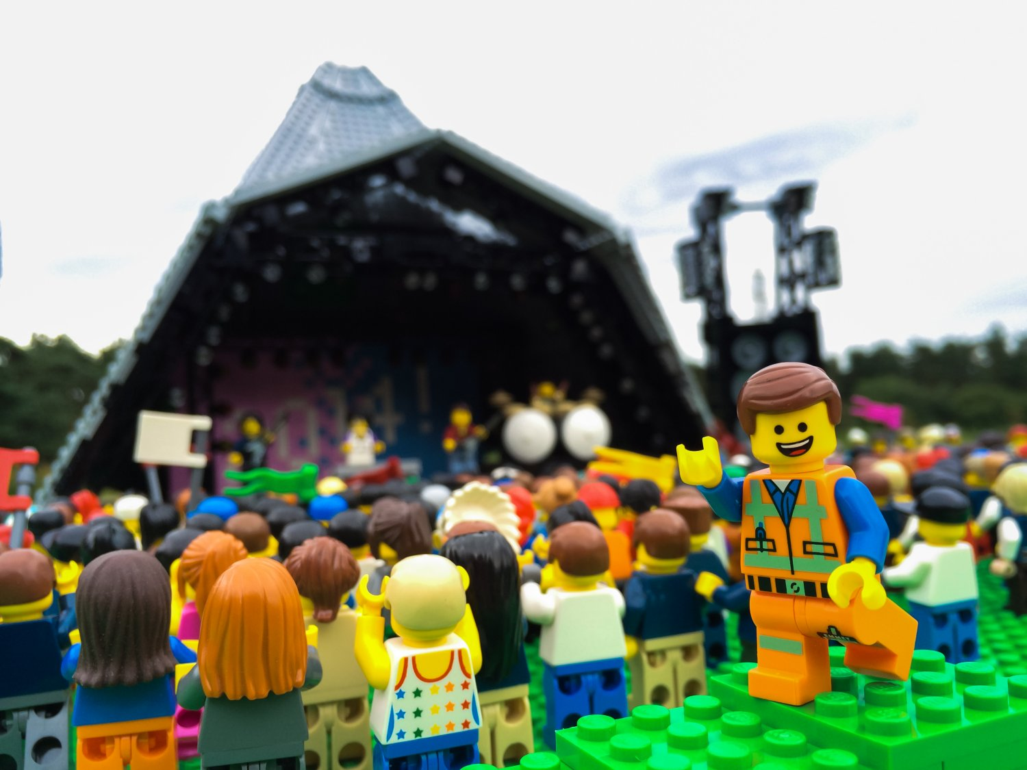 The mud didnt bother Emmet, star of The LEGO Movie, as he gets into the festival spirit at Glastonbury