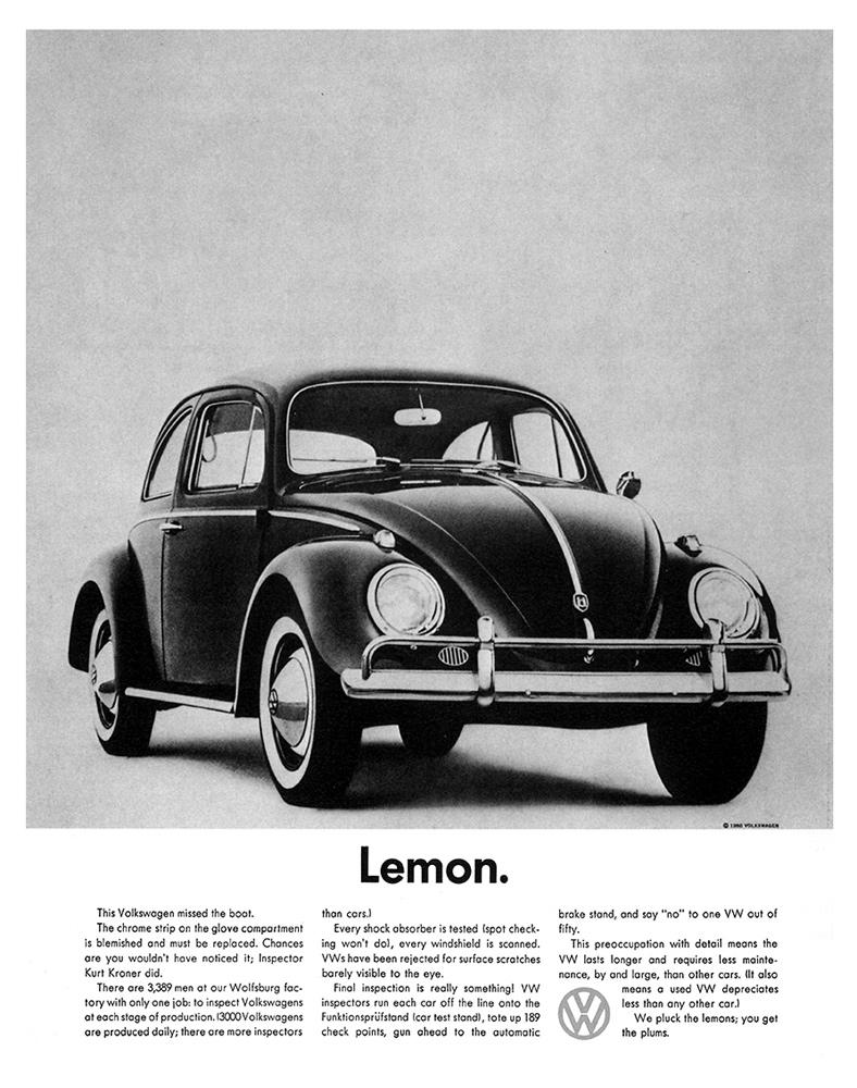 Volkswagen Beetle Lemon advert