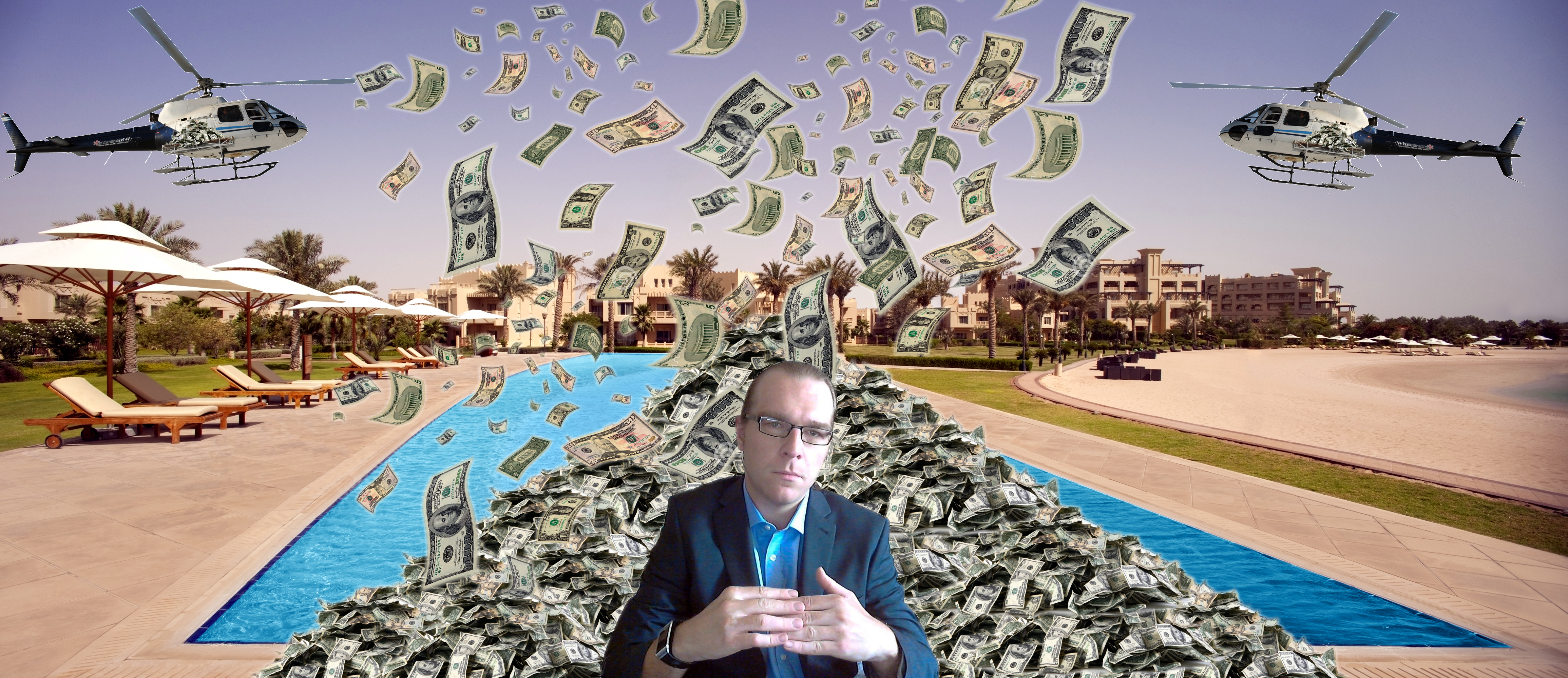 pool money by helicopter