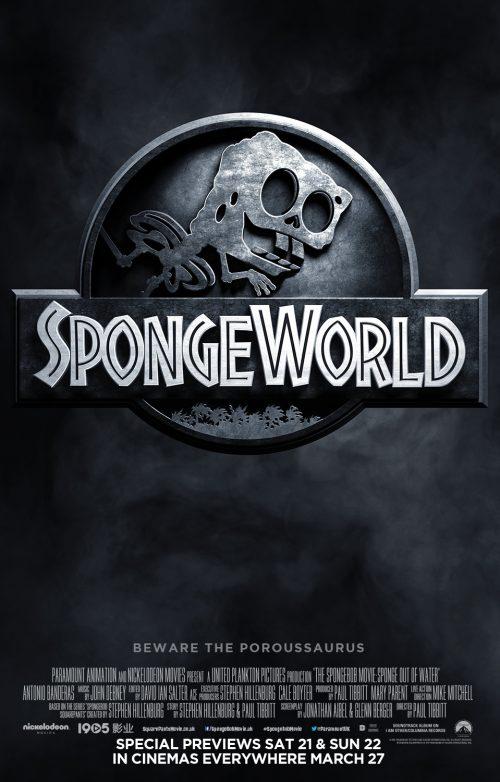 Jurassic World Spongebob spoof poster