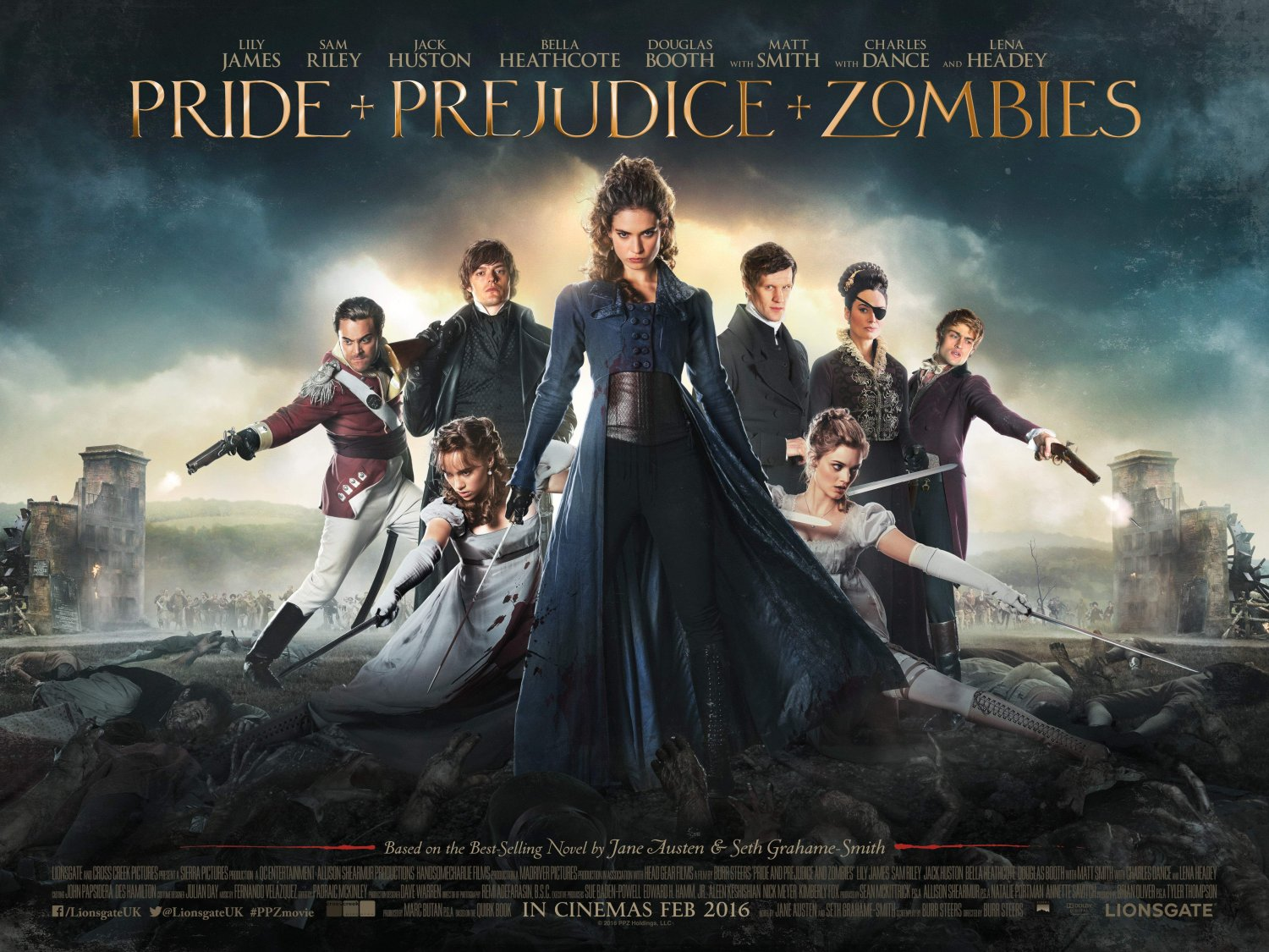 PRIDE AND PREJUDICE AND ZOMBIES quad poster