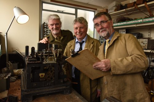TNMOC volunteers John Watson, John Pether and Charles Coultas who were part of the team responsible for the reconstructions and restorations in the workshop with the Lorenz SZ42.