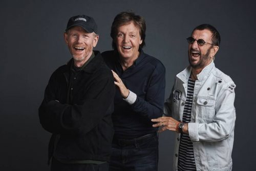 """Paul McCartney, Ringo Starr & Ron Howard photographed at a promotional day at Abbey Road Studios on Wednesday 14th September on the eve of the cinematic release of the new Ron Howard documentary """"The Beatles:Eight Days A Week"""".  The pair will attend the premiere in London's Leicester Square on Thursday 15th September.  The film also opens worldwide on the same date."""
