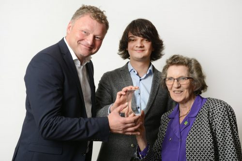 In the photo are Dr Jochen Viehoff and Johannes Blobel (the younger of the two) from Heinz-Nixdorf MuseumsForum and Margaret Sale, widow of the late Tony Sale. Photo: Computer Conservation Society.