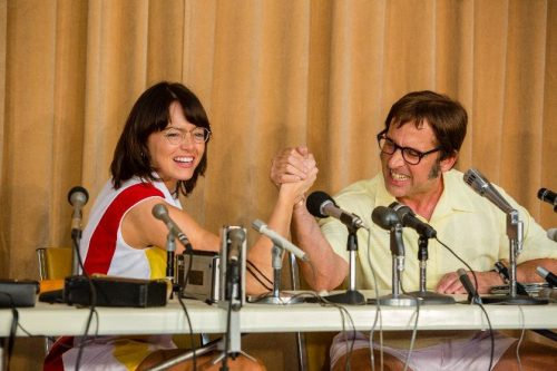 Emma Stone as Billy Jean King and Steve Carell as Bobby Riggs in BATTLE OF THE SEXES