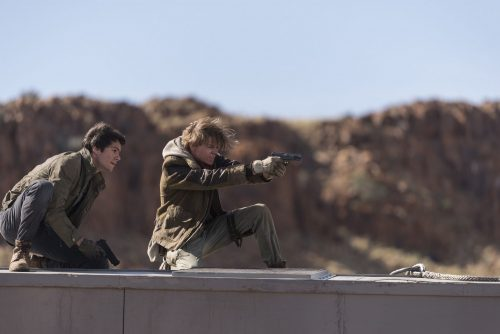 Dylan O'Brien, left, and Thomas Brodie-Sangster in Twentieth Century Fox's Maze Runner: The Death Cure.