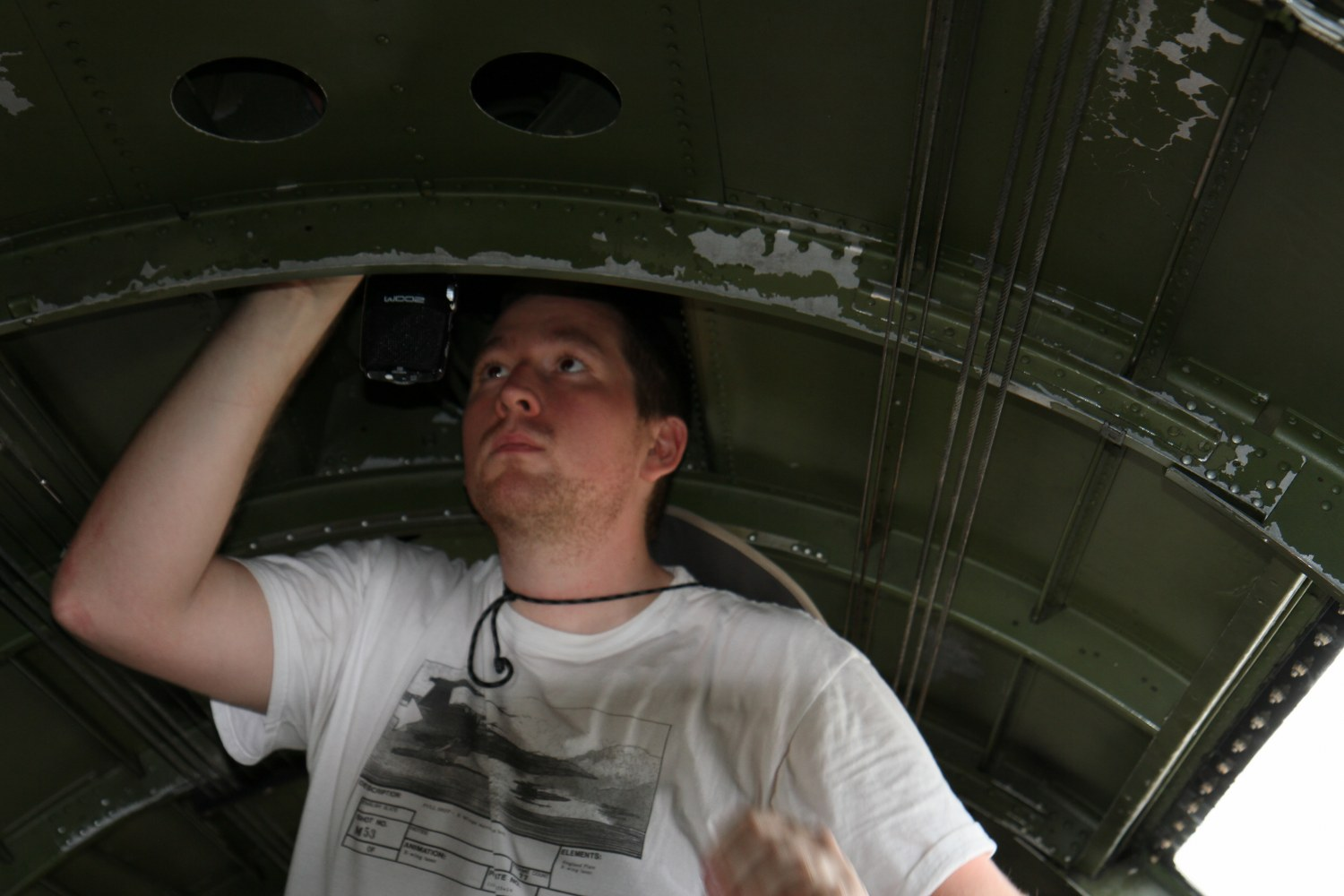 Richard Gould inside B17 rigging Mikes