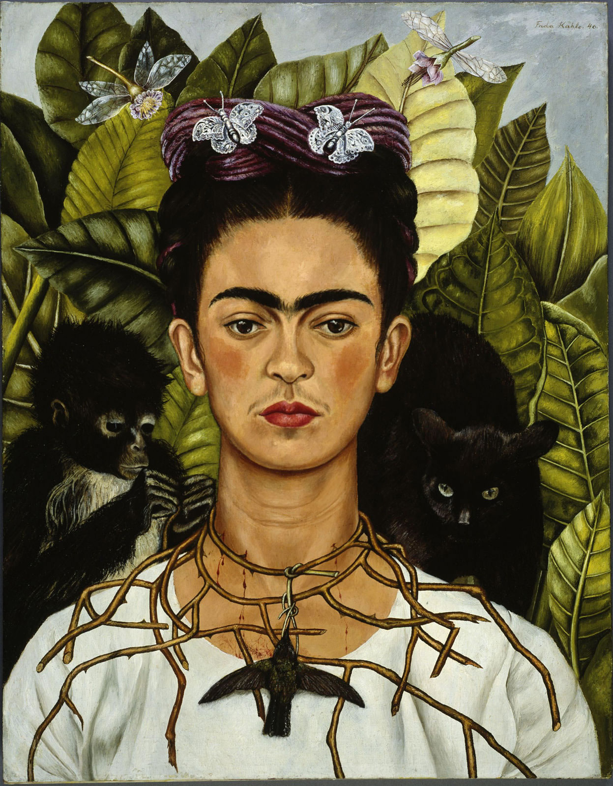 Frida Kahlo, Self Portrait with Necklace of Thorn Necklace and Hummingbird, 1940, Bridgeman-medium (1)
