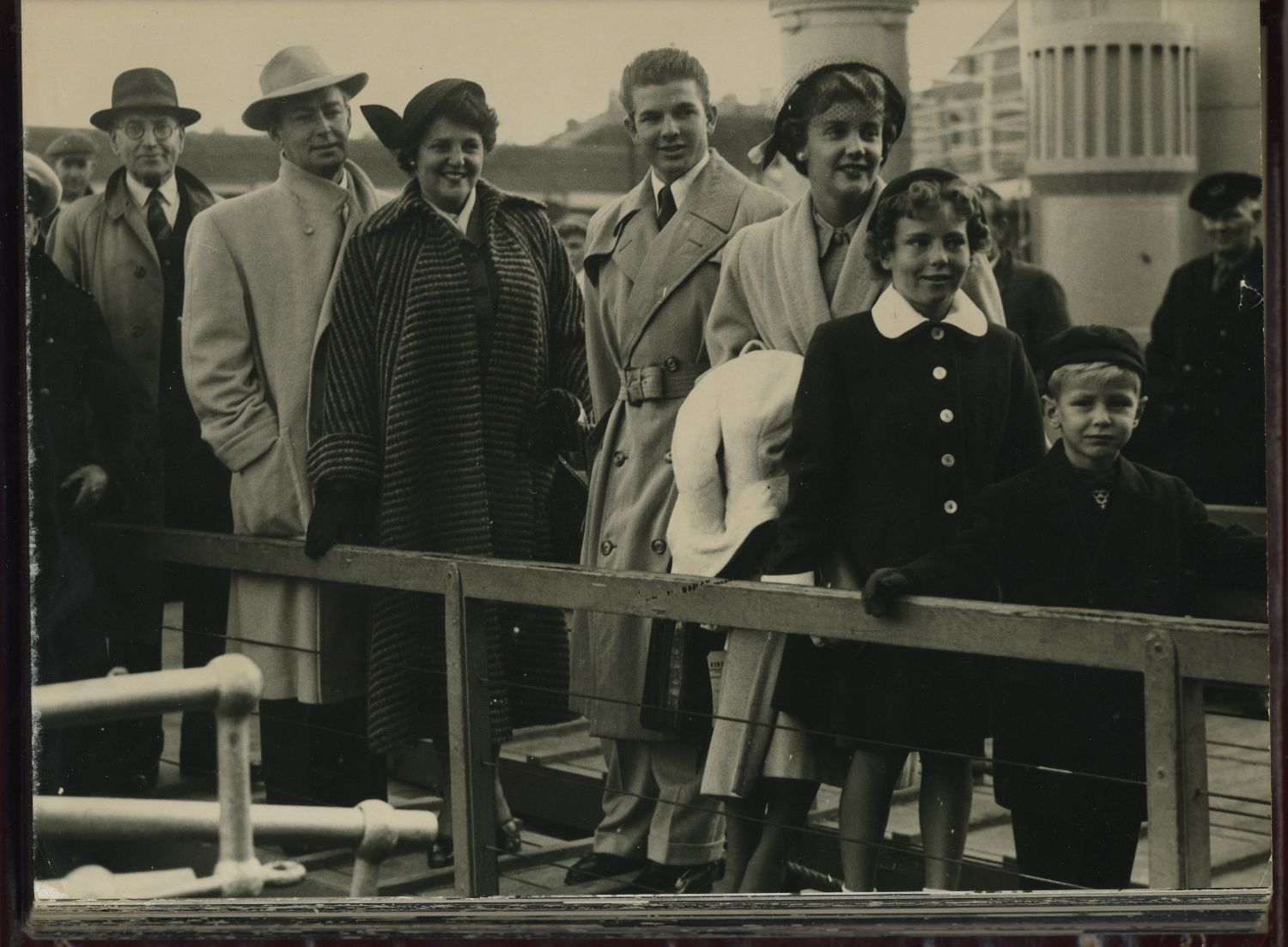 Ladd family getting off boat-Europe