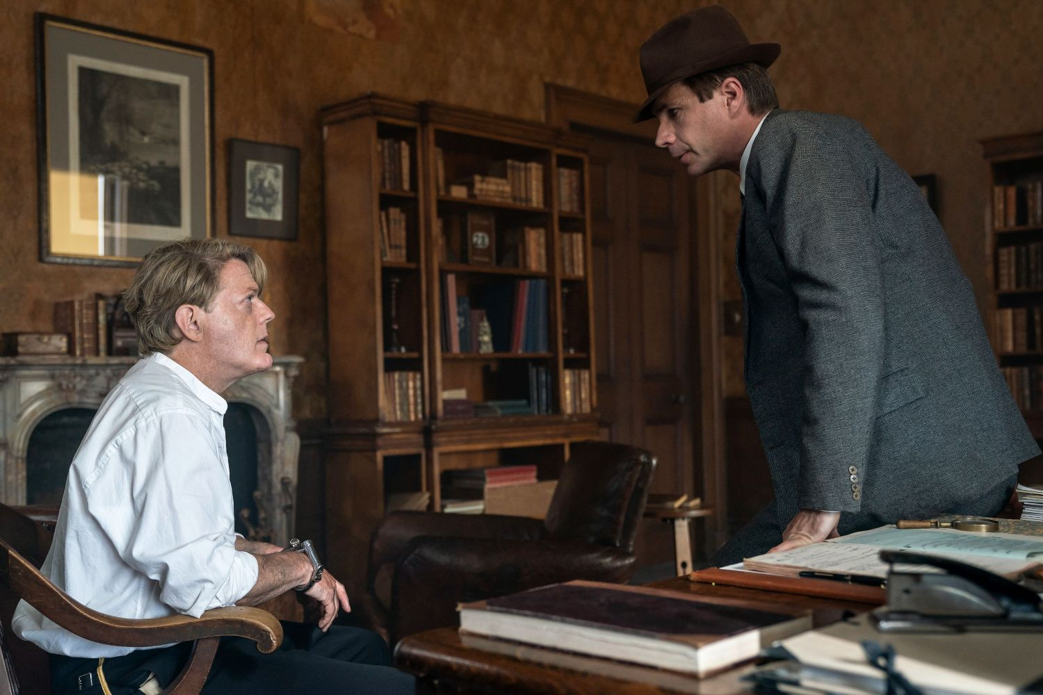 Eddie Izzard and James D'Arcy in SIX MINUTES TO MIDNIGHT (Lionsgate UK)